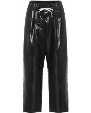Przycięte spodnie skórzane czarne Givenchy
