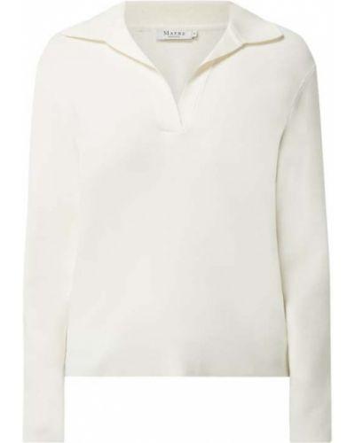 Biały t-shirt z długimi rękawami z dekoltem w serek Maerz Muenchen