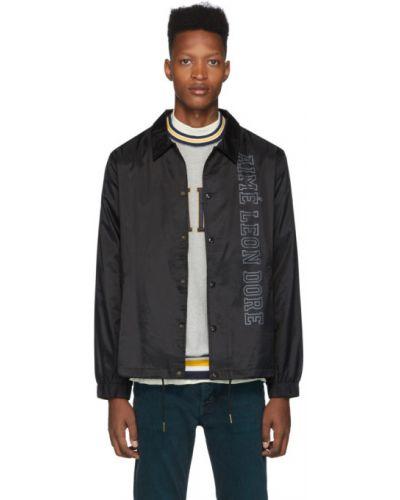 Czarna długa kurtka z nylonu z długimi rękawami Aime Leon Dore
