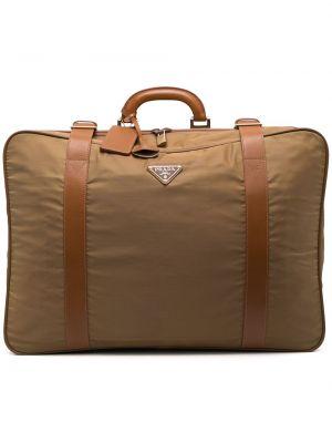 Włókienniczy z paskiem beżowy walizka z klamrą Prada