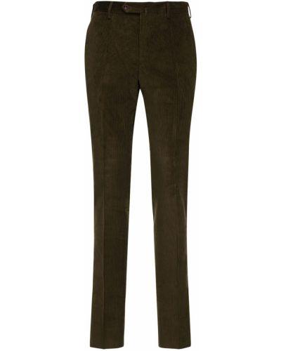 Spodnie sztruksowe khaki z paskiem Pantaloni Torino