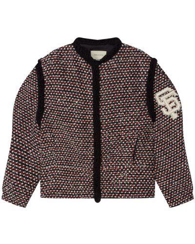 Шерстяная короткая куртка оверсайз с аппликациями Gucci