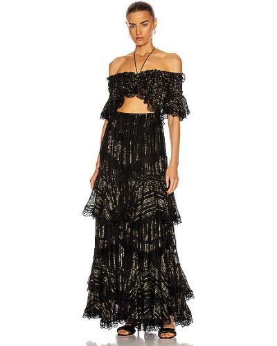 Черное платье макси с подкладкой в полоску Rococo Sand