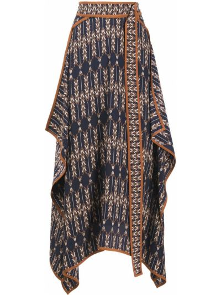 Синяя с завышенной талией юбка миди с запахом Stella Mccartney