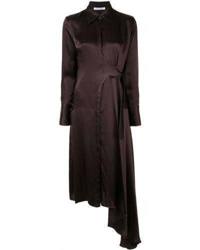 Коричневое приталенное платье миди Bianca Spender