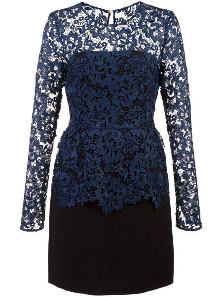 Czarna sukienka mini koronkowa z długimi rękawami Rachel Zoe