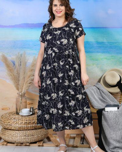 Платье свободного кроя с принтом из штапеля с рисунком виотекс