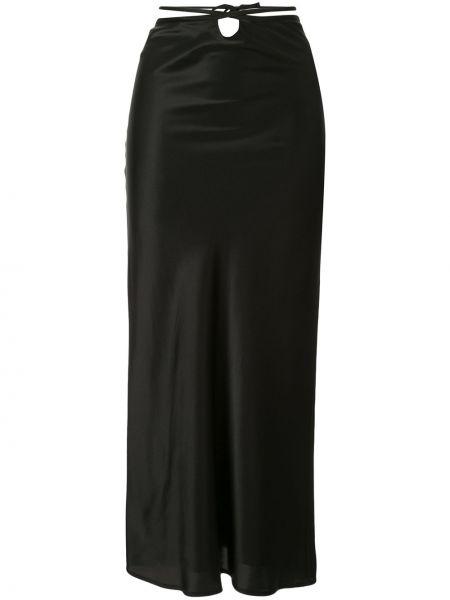 Шелковая черная юбка миди с запахом Christopher Esber