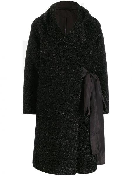 Черное длинное пальто с глиттером Sara Lanzi