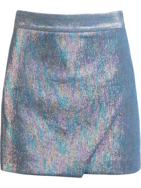 Ватная хлопковая синяя с завышенной талией юбка мини Michelle Mason