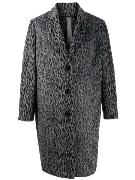 Серое шерстяное пальто классическое на пуговицах с капюшоном Omc