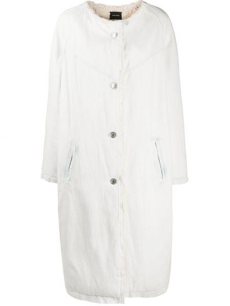 Однобортное белое длинное пальто на пуговицах Isabel Marant