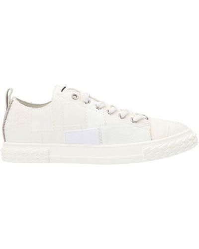Białe sneakersy płaska podeszwa w paski Giuseppe Zanotti