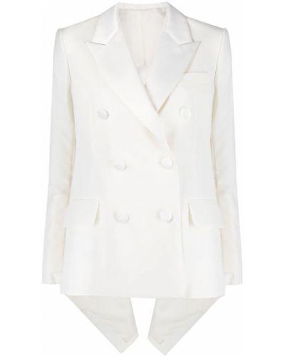 Белый удлиненный пиджак двубортный с карманами Sacai