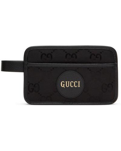 Серебряная кожаная ключница с накладными карманами Gucci