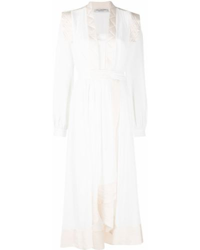 Расклешенное с рукавами белое платье макси Philosophy Di Lorenzo Serafini