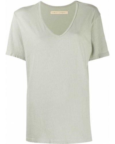 Хлопковая прямая футболка с V-образным вырезом с короткими рукавами Raquel Allegra