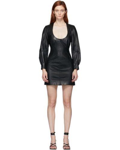 С рукавами черное кожаное платье макси с воротником Situationist