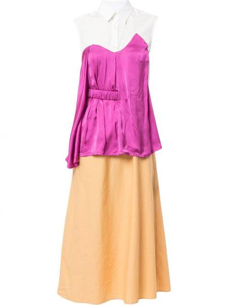 Платье миди на пуговицах персиковое Aalto