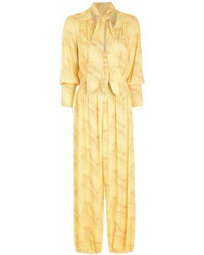 Żółty kombinezon z długimi rękawami z wiskozy Nk