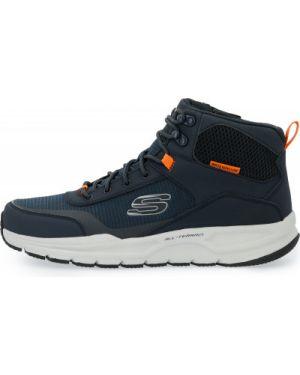 Спортивные синие текстильные высокие кроссовки на шнуровке Skechers