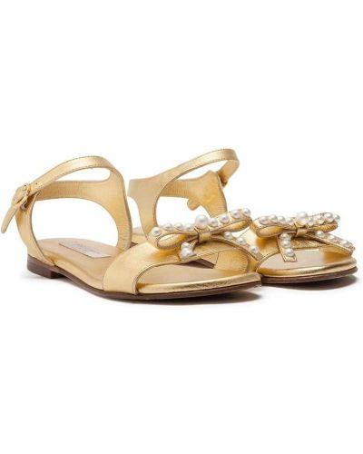 Открытые кожаные сандалии с жемчугом Dolce & Gabbana Kids
