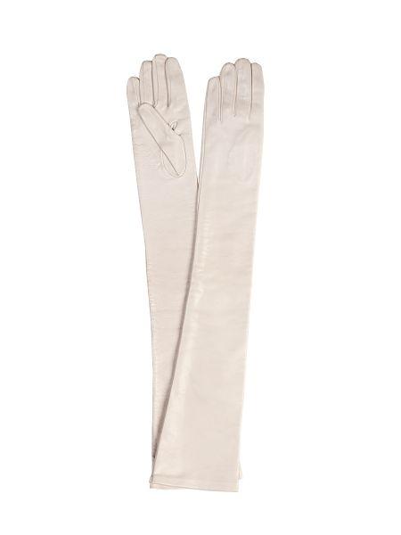 Бежевые шелковые перчатки длинные с декоративной отделкой Sermoneta Gloves