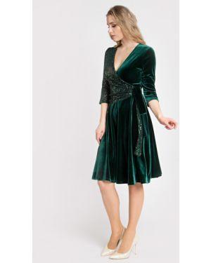 С рукавами бархатное вечернее платье с запахом без застежки Filigrana
