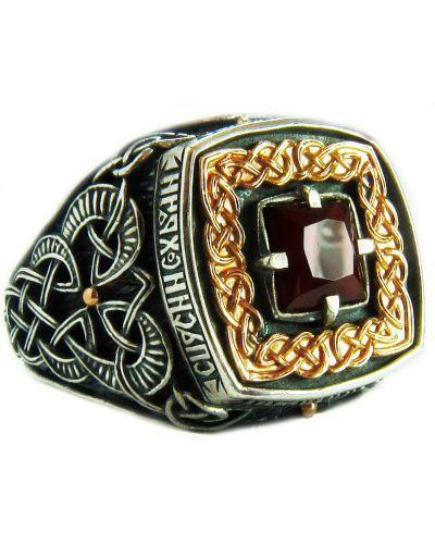 Кольцо с гранатом - черное Persian