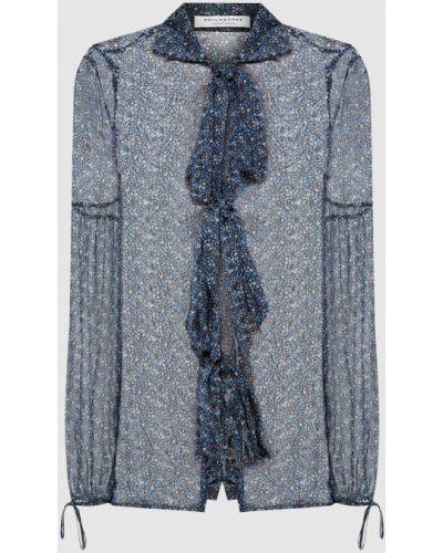 Шелковая блузка - синяя Philosophy Di Lorenzo Serafini