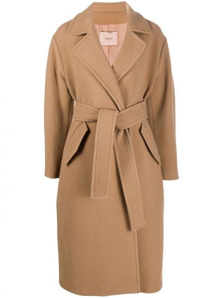 Коричневое шерстяное длинное пальто с воротником Twin-set