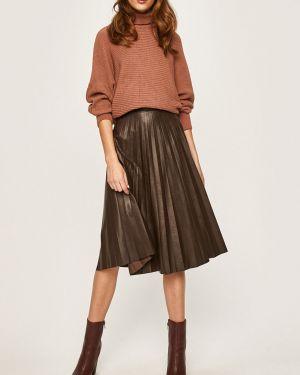 Расклешенная плиссированная юбка с поясом в рубчик из искусственной кожи Answear
