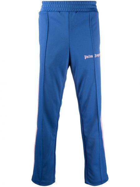 Prosto niebieski spodnie w paski z boku z kieszeniami z paskami Palm Angels