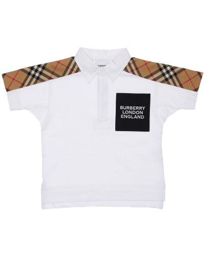Biały bawełna z rękawami koszulka polo Burberry