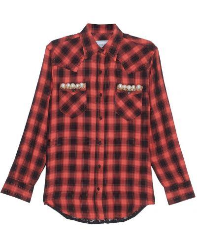 Красная рубашка в клетку из вискозы Forte Couture