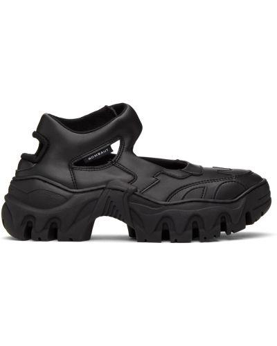 Czarne sneakersy skorzane na rzepy Rombaut