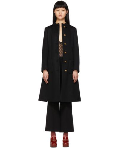 Шерстяное черное длинное пальто с воротником Gucci