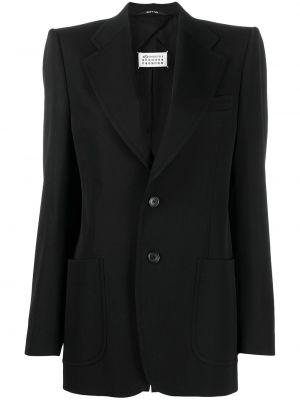 Шерстяной черный удлиненный пиджак с накладными карманами Maison Margiela