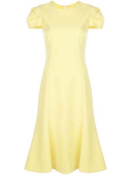 Желтое расклешенное платье миди с вырезом на молнии Jason Wu Collection