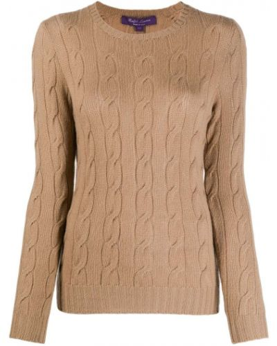 Кашемировый приталенный коричневый джемпер круглый Ralph Lauren
