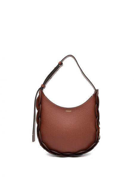 Skórzany brązowy torba na ramię okrągły Chloe