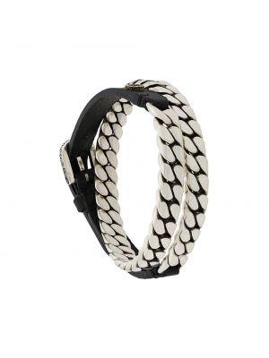 Skórzany bransoletka ze srebra czarny Gucci