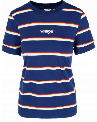 T-shirt w paski bawełniany z printem Wrangler
