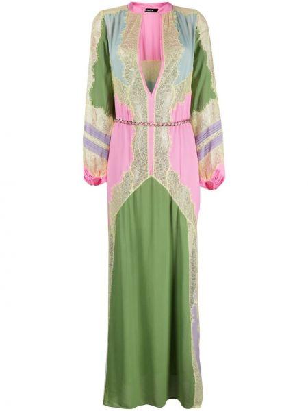 Ажурное розовое платье макси с вырезом Amen.