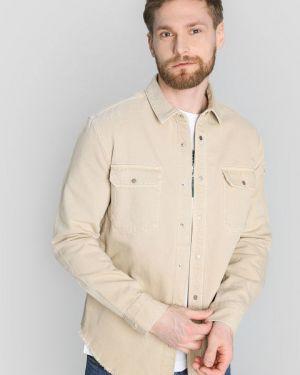 Бежевая рубашка с карманами на кнопках с воротником Ostin