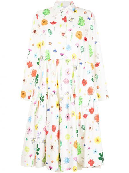 Расклешенное белое платье макси в цветочный принт Mira Mikati