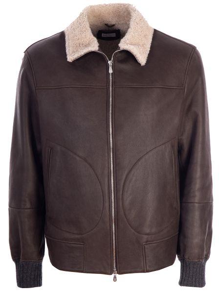 Кожаная куртка на молнии - коричневая Brunello Cucinelli