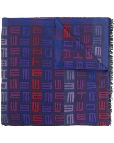 Niebieski szalik z frędzlami Etro