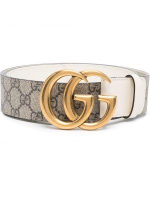 Skórzany pasek z klamrą z paskiem złoto Gucci