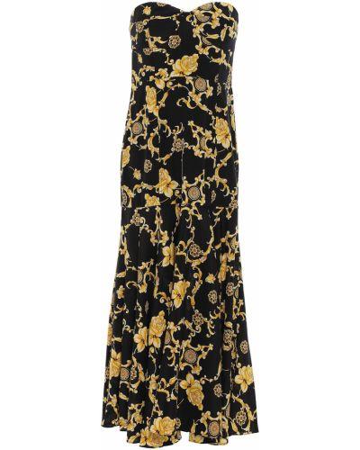 Шелковое черное вечернее платье без бретелек Veronica Beard